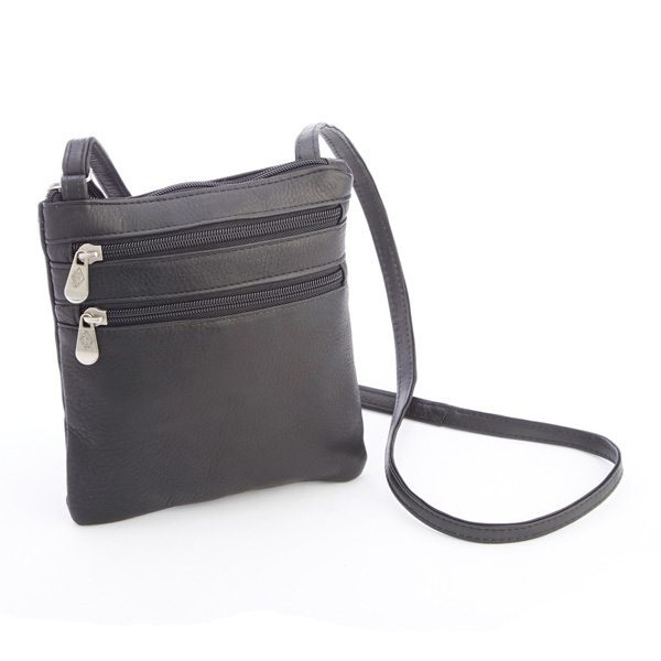 Colombian Leather Double Zip Crossbody Bag ae1f926c09333